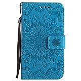Lomogo Samsung Galaxy S5 Hülle Leder Blumenprägung, Schutzhülle Brieftasche mit Kartenfach Klappbar Magnetverschluss Stoßfest Kratzfest Handyhülle Case für Samsung Galaxy S5 - KATU22254 Blau