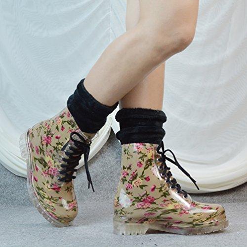 LvRao Damen Winter Warm Wasserdichte Stiefel Regen Schnee Schnürschuhe Hohe Knöchel Gummistiefel Rote Blume mit Socken