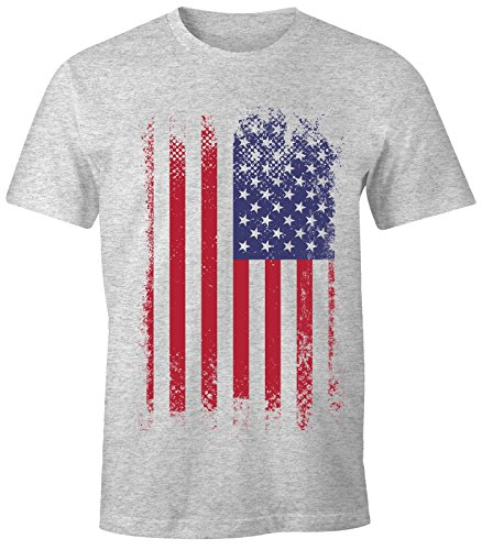Herren T-Shirt - Amerika Flagge USA Flag United States of America - Comfort Fit MoonWorks® Grau