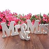 Balight Hochzeitsdekoration, Buchstaben, Foto, Requisiten, Hochzeitsgeschenke, Mr & Mrs Holzbuchstaben für Party, Zuhause, Tischdekoration, 3 Stück (weiß)
