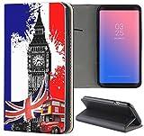 Samsung Galaxy S4 / S4 Neo Hülle Premium Smart Einseitig Flipcover Hülle Samsung S4 / S4 Neo Flip Case Handyhülle Samsung S4 Motiv (282 London England Big Ben Schwarz Rot Blau)