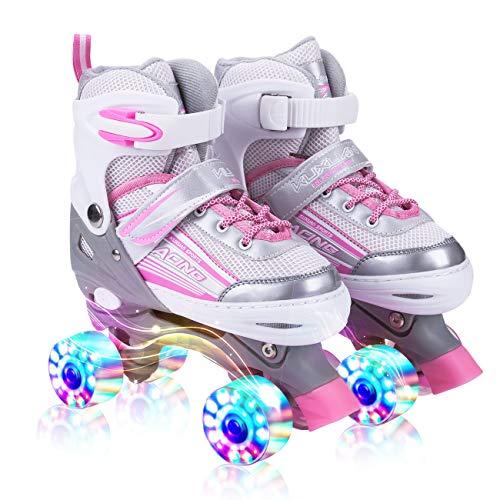 Kuxuan Rollschuhe, Kinder Quad Skate, für Mädchen,alle Räder leuchten,Einstellbare Größe des Schuhs (Pink, S)
