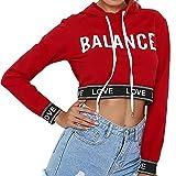 FeiXiang Sudadera para mujer, personalización exclusiva, sudadera con capucha, diseño corto, manga larga medium rosso