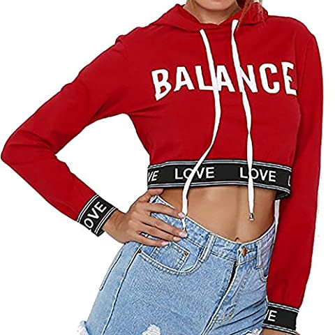 Femme Sweat à capuche, Feixiang & # X2648 ; exclusif customisation Fashion Sweat à capuche court Sweat à manches longues Crop Jumper Pull TOPS M Red