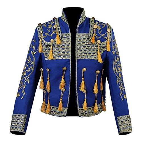sch Matador Kostuem Europaeischen Gerichtshof Stierkampf Jacke Stickerei Quaste Zweiteilige Set,M,Blue (Herren Matador Kostüme)