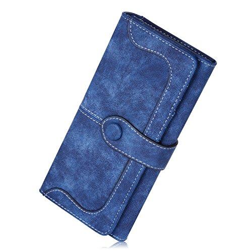 N newland Vintage-Ledertaschen Wildleder Tasche Damen Geldbörse Lang Damen Portemonnaie (Sapphire) -