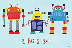 Oopsy daisy Robots Rule Canvas Wall Art by Vicky Barone, 30 by 20-Inch