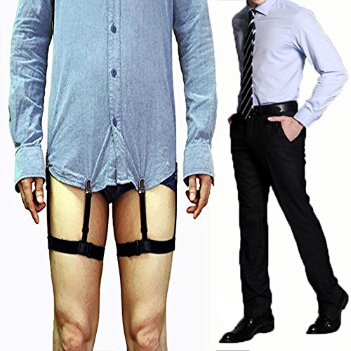e4bebd2d81d Aliyao 1 Pair Mens Braces Adjustable Shirt Stays with Elastic Belts for  Normal Clothes White collar Suit Wrinkle Resistant Anti-slip Clamp Thigh  Ring Garter ...