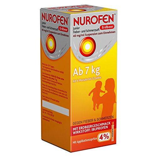 Nurofen Junior Fieber- und Schmerzsaft Erdbeer 4{2fb82d43286c98a3c2e56ad04fe66c7647b16808de5faa8f6be77e5184910428}, 100 ml Lösung