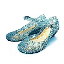 CQDY Girl Elsa Shoes Princess Dress Up Girls Halloween Fancy Princess Shoes for Cosplay Party Birthday Gift, Blue, 8 UK Child