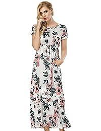 da1471e6fd3 Mioloe Femme Robe Longue d été Imprimé Floral avec Poches Robe Style Bohème avec  Manche