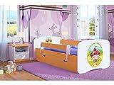 Lit Enfant Maisonnette 70 CM x 140 CM avec Barriere DE SECURITE + SOMMIER + TIROIRS + Matelas Offert ! – Orange