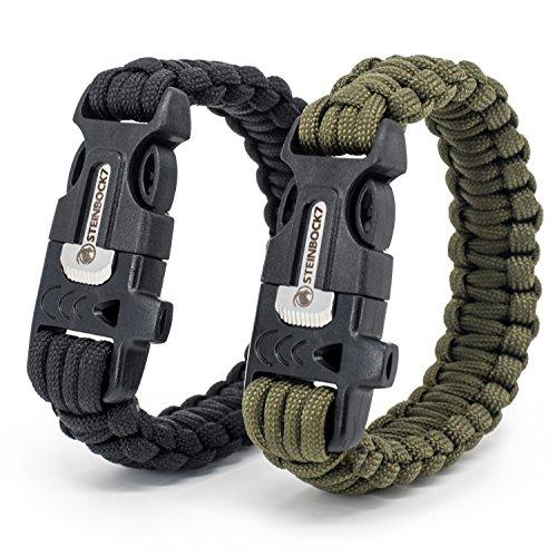STEINBOCK7 Survival Armband, 2er Set Schwarz Grün,