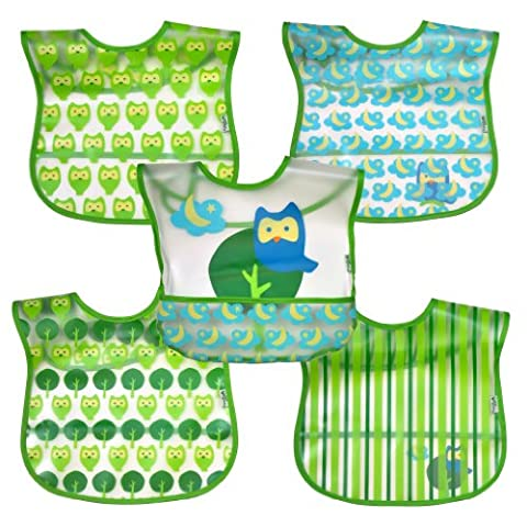 green sprouts Wipe-Off Bib (Green Owl, Pack of 5)