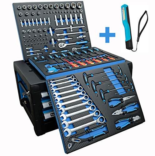 DeTec Chariot d'atelier bleu edition avec outils