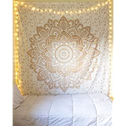 Aakriti Gallery Tapestry Queen Ombre Gift Hippie Tapestries Mandala Bohemian Psychedelic Intricate Indian Bedspread 92x82 Inches (Golden New Ombre)