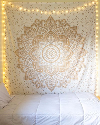 Tapestry Queen ombre Gift hippie arazzi mandala Bohemian Psychedelic intricato indiano copriletto 233,7 x 208,3 cm Aakriti Gallery Golden New Ombre