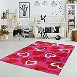 Kinderteppich Spielteppich Flachflor Kurzflor Herzen Soft Pink Mädchen Kinderzimmer Größe 80/150 cm
