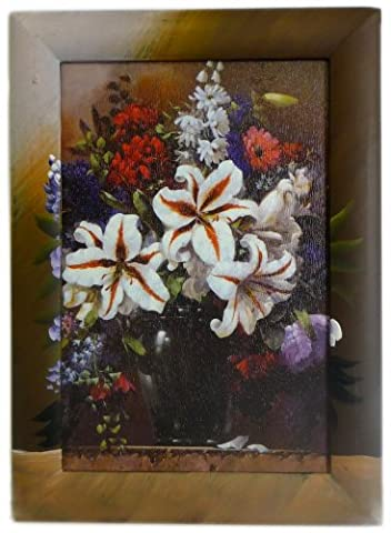Unique Acrylic Handpainted (Vase) Pot of Lillies & Cut Flowers, Framed Painting 46.5 x 34cm Decorative Frame Painted Artwork [Part-11] by A & W