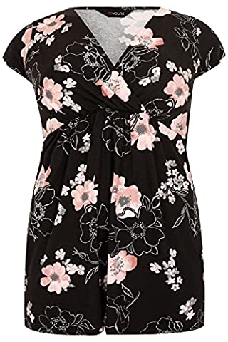 Yoursclothing Plus Size Womens Floral Print Jersey Wrap Top Size 22-24 Black