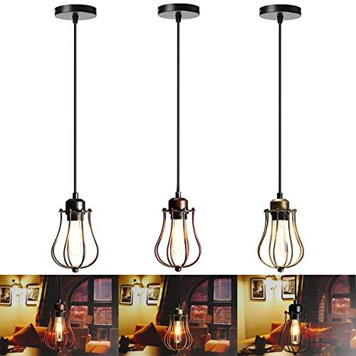 MASUNN E27 Vintage Decke Edison Licht Pendelleuchte Käfig Lampenschirm Leuchte Leuchter - Rost