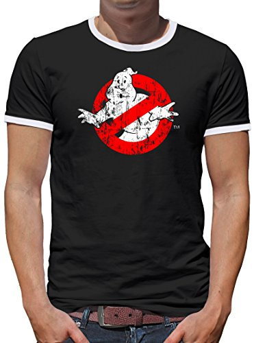 TLM Ghostbuster Distressed Kontrast T-Shirt Herren XXL Schwarz (Bier Distressed)