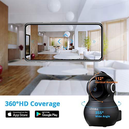 Cámara de Vigilancia, Lensoul 1080P Cámara IP Interior Inalámbrico con Visión Nocturna Detección de Movimiento Audio de 2 Vías 2.4GHz WiFi Compatible con iOS/Android(Negro)