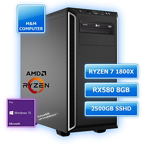 M&M Computer Dresden High End Silent Gaming PC, AMD Ryzen 7 1800X Prozessor (Eight-Core/Octa-Core) AM4, AMD Gaming RX 580 GPU mit 8GB VR+4K ready, 512GB SSD M.2 (NVMe), 2000GB SATA3 Festplatte, 16GB DDR4 RAM 2666MHz, Gigabyte Gamer Mainboard USB 3.1, DVD-Brenner, gedämmtes BeQuiet-Gehäuse, Windows 10 Pro vorinstalliert inkl. Treiber 51TNgoCLxBL