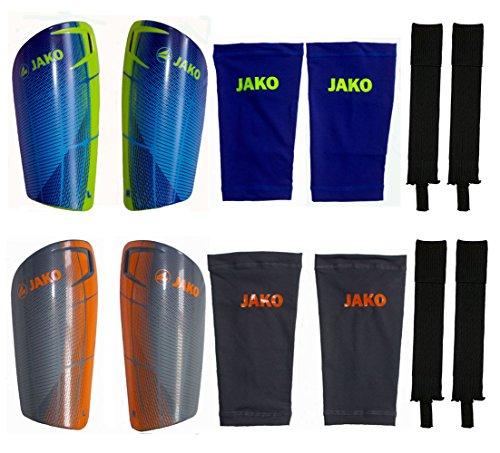 Die Sportskanone Turin 3 Komponenten Fussball Set 1 Paar Jako Schienbeinschoner mit Tube Socks und Funktions Stegstutzen Bambini Kinder Damen Oder Herren (Blau, M)