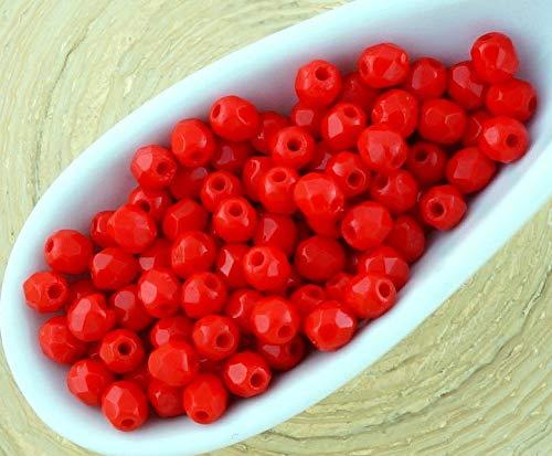 100 Stück, Opak-Korallen-Rote Runde Facettierte, Feuer-Poliert Kleine Tschechische Glas Spacer Perlen 3mm -