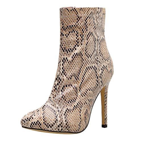 koperras Stiefel für Damen, Schlangenfell, New Element, bunt, Spitze, hohe Absätze, Punk, Ankle Boots Gr. 35, gelb -
