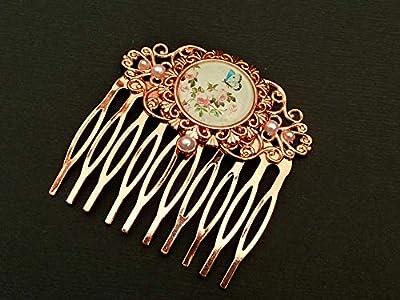 Peigne à cheveux avec papillon et roses en or rose