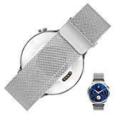 Huawei Montre Milanese Bracelet - Rerii 18mm Largeur, Fermeture Magnétique, Milanese Loop, Mesh Acier Inoxydable, Bracelet, Bracelet pour Huawei Montre 2015, Montre Huawei Fit