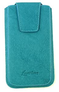 Emartbuy® Classic Blue Luxury PU Leather Slide in Pouch Cover ( 3XL ) With Magnetic Flap & Pull Tab Suitable For Fairphone Smartphone