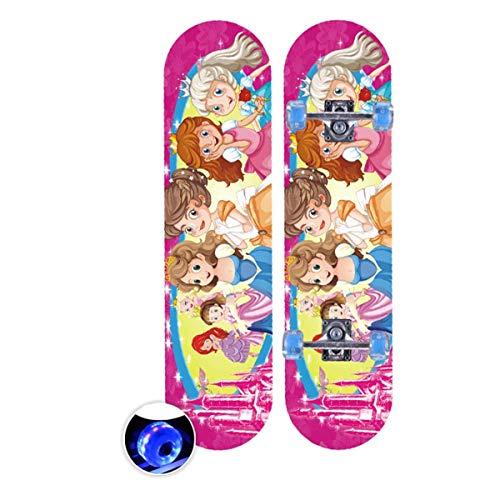 rd Komplett Longboard Double Kick Skateboard Cruiser 8 Lagen Ahorn Deck für Extremsport und Outdoor, 5,72cm ()