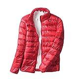 Damen Ultra Leicht Winter Mantel Übergangsjacke Steppjacke Parka Jacke Rot M