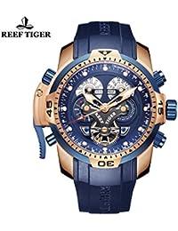 Reef tigre complicado azul Dial Negro Rubber Reloj para hombre oro rosa militar reloj rga3503