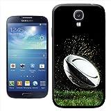 Hartschalen-Schutzhülle für Samsung Galaxy S4 I9500 (Rugbyball auf nassem Gras Design, zum Aufstecken)