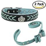 Newtensina Stylish Hundehalsband und Leine Set Nylonriemen gewebt Bling Halsband Leder Diamante Welpen Halsband mit Fliege Leine für Hunde