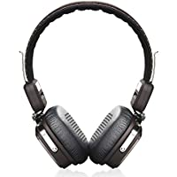 OneOdio On-Ear Wireless Bluetooth Stereo Headphones with Mic for Music Streaming Rechargeable Noise Isolation Foldable Clear Bass Sound Bluetooth 4.1 For iPhone, iPad, Samsung Galaxy and Other Bluetooth Devices, 3.5mm to 3.5mm Aux Cable Included (Black-Brown)