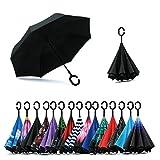 Jooayou Parapluie Inversé, Anti-UV Double Couche Coupe-Vent Parapluie, Mains Libres poignée en forme C Parapluie