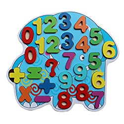 Wooden Number Puzzle Board - Elephant- Wooden Numbers Recognition