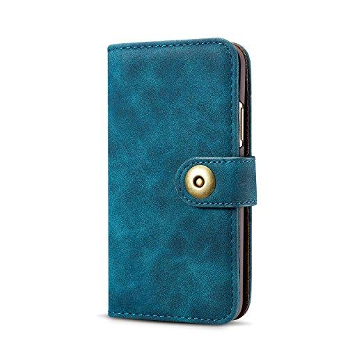 Magnetische abnehmbare Retro Premium Qualität PU-Leder Flip Stand Brieftasche Case Cover für iPhone X ( Color : Blue ) Blue