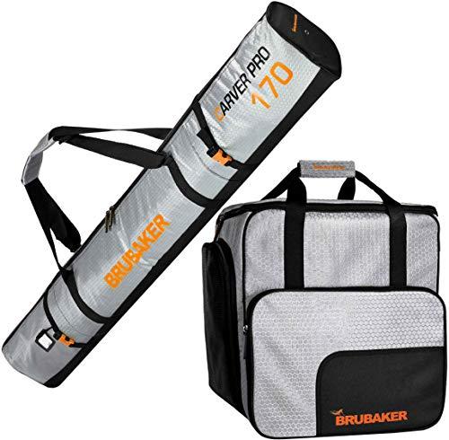 Brubaker Kombi Set CarverTec Pro - Skisack und Skischuhtasche für 1 Paar Ski + Stöcke + Schuhe + Helm - Silber Orange - 170 cm -