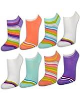 sockenkauf24 8 | 12 | 20 Paar Damen Sneaker Socken Bunte Ringel - 36246