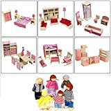 XIAONAN Wooden Furniture Doll House Miniature 6 Room Sets with 6 Dolls