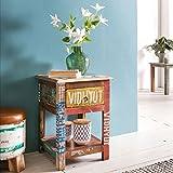 Wohnling Nachtkonsole SURAT 40x40x55 cm Massiv-Holz-Nachttisch | Beistelltisch mit Stauraum | Shabby Style Tisch | Bunter Abstelltisch Vintage | Moderner Nachtschrank | Ablagetisch Schlafzimmer