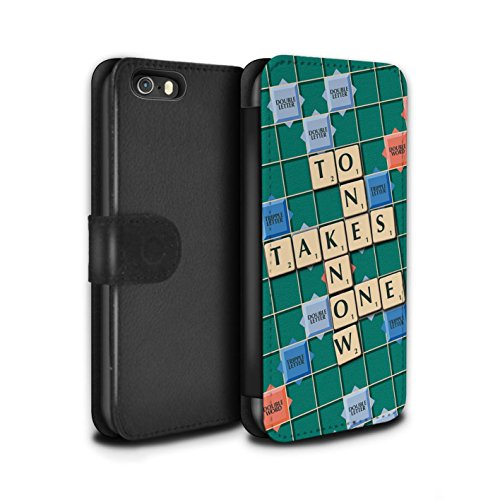 Stuff4 Coque/Etui/Housse Cuir PU Case/Cover pour Apple iPhone SE / Pack 12pcs Design / Mots de Scrabble Collection Connaître