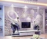 Yosot Benutzerdefiniertes Hintergrundbild Wohnzimmer Schlafzimmer Wandbild Im Europäischen Stil 3D-Swan Liebe Fernseher Sofa Hintergrund 3D Tapete Wandbild-140Cmx100Cm