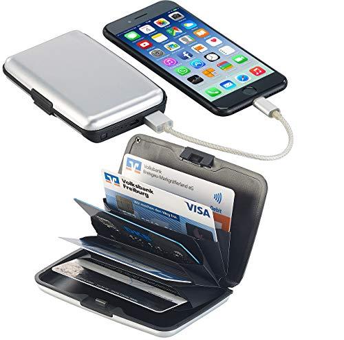 Xcase RFID-Schutzhüllen: 2in1-RFID-Kartenetui & Powerbank, 5 Fächer, 2.500 mAh, 1 A, 5 Watt (Kartenbörsen RFID) -